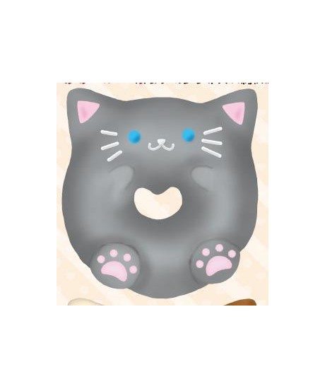 Preorder - Cafe Sakura grey cat donut squishy charm kawaii - Cute Squishy Shop