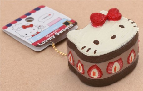 Hello Kitty Squishy Cake And Stand : Adorable Hello Kitty brown cake strawberry bow squishy - Cute Squishy Shop