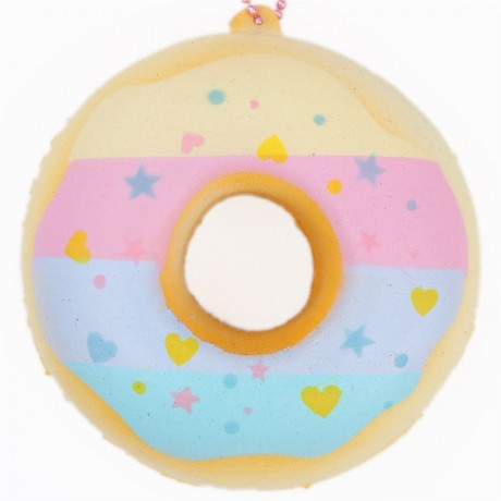 Cute donut colorful stripe icing pale blue squishy charm for Squishy ideas