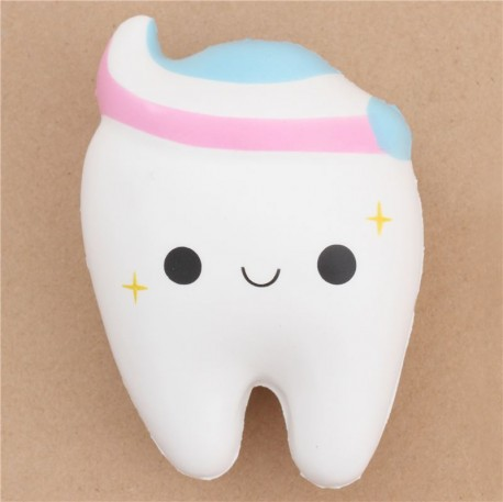 Squishy Galaxy Tooth : cute white tooth with pink white blue toothpaste squishy by Cutie Creative - Cute Squishy