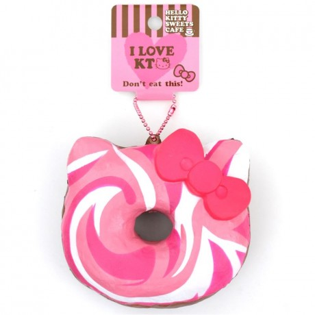 Hello Kitty Donut Squishy Real : pink white swirl Hello Kitty donut squishy charm - Cute Squishy Shop