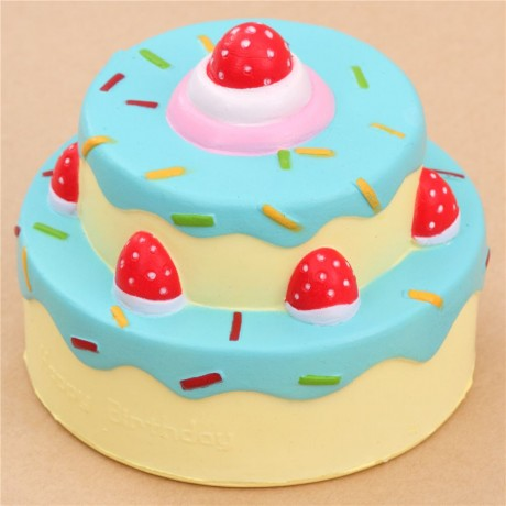 Vlampo cute happy birthday cake blue icing squishy kawaii Cute
