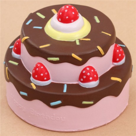 Vlampo cute happy birthday cake brown icing squishy kawaii Cute
