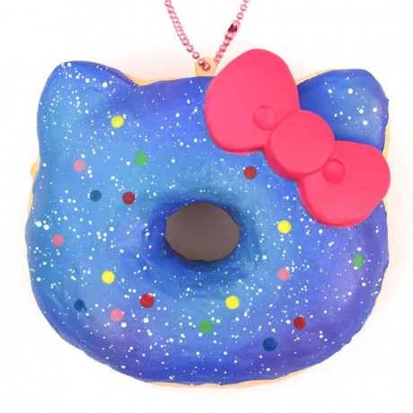 Hello Kitty Donut Squishy Size : blue galaxy colorful dot Hello Kitty donut squishy charm - Cute Squishy Shop