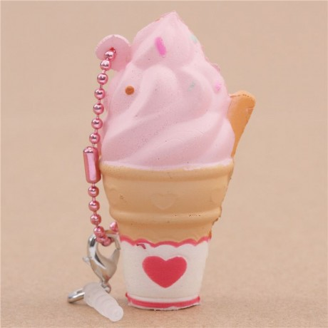 Super cute small pink soft serve ice cream scented squishy by Puni Maru  PD42