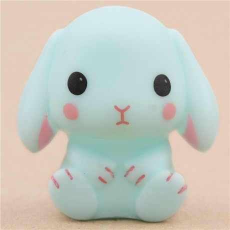 Squishy Squooshems Bunny : cute turquoise rabbit squeeze squeak toy from Japan Amuse - Cute Squishy Shop