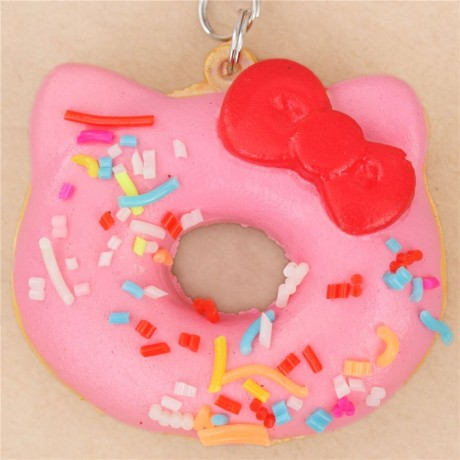 Hello Kitty Donut Squishy Size : exclusive small pink sprinkles Hello Kitty donut squishy charm - Cute Squishy Shop