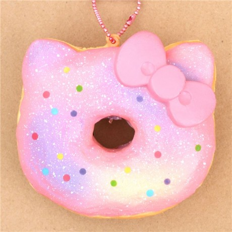 Hello Kitty Donut Squishy Real : pink light purple colorful dot Hello Kitty donut squishy - Cute Squishy Shop