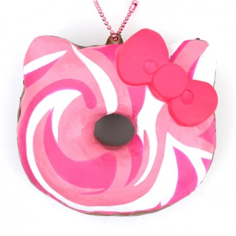 Hello Kitty Donut Squishy Size : pink white swirl Hello Kitty donut squishy charm - Cute Squishy Shop