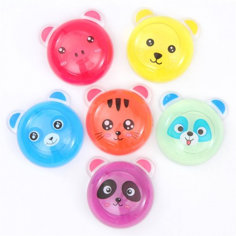 random colorful slime with bear cat animal case mud clay jelly diy
