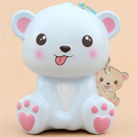 Scented Jumbo Blue Polar Bear Tongue Out Animal Squishy By Puni Maru