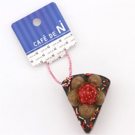 Cafe De N Strawberry Squishy : small piece of chocolate cake with sprinkles strawberry squishy cellphone charm Cafe de N - Cute ...