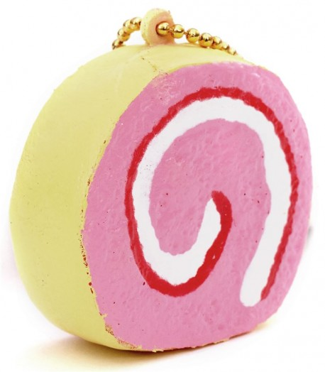 Squishy Cake Slice : yellow pink sponge roll strawberry cake slice squishy Cafe de N - Cute Squishy Shop