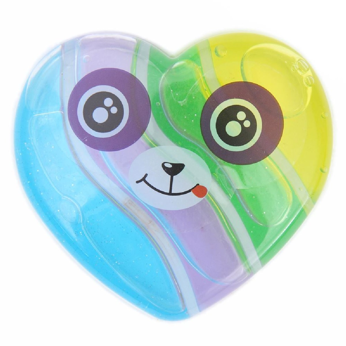 4 color blue purple green yellow slime with heart face case mud clay ...